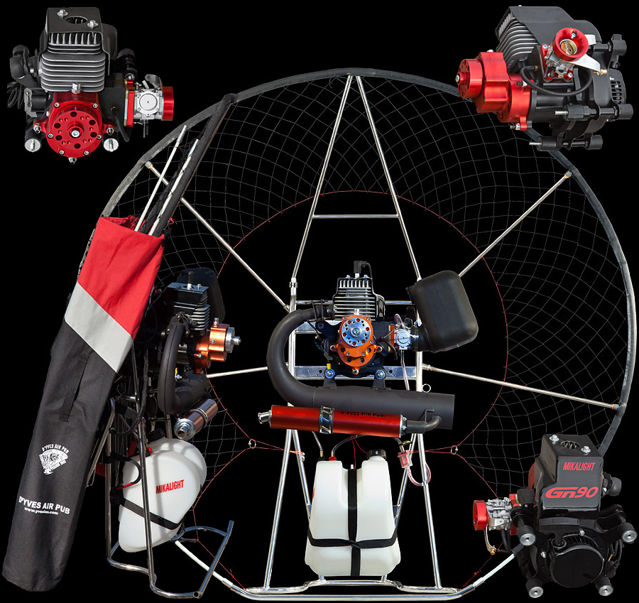 Mikalight paramotor with HE GN125 engine